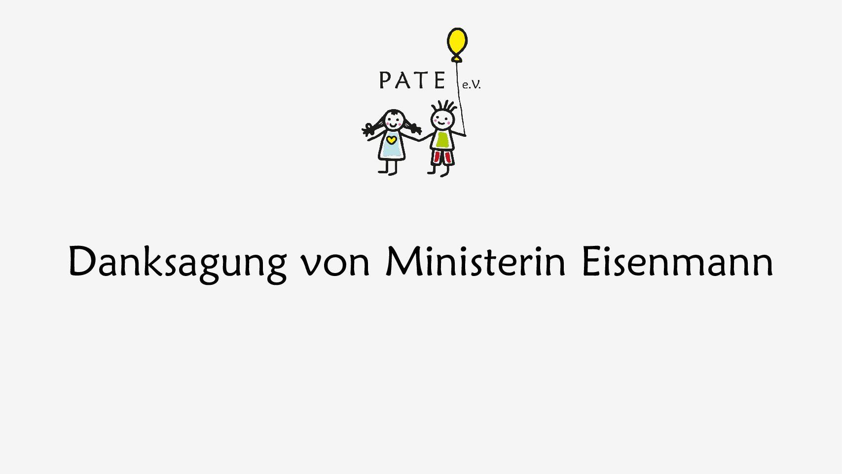 Danksagung von Ministerin Eisenmann